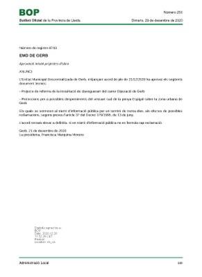 APROVACIÓ INICIAL PROJECTES D'OBRA